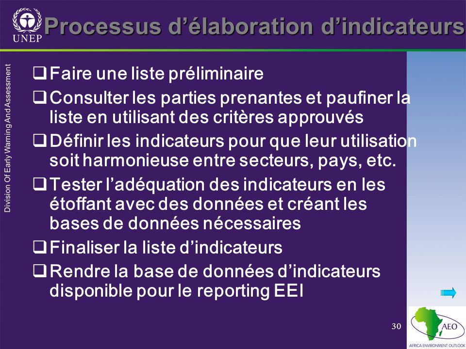 Division Of Early Warning And Assessment 30 Faire une liste préliminaire Consulter les parties prenantes et paufiner la liste en utilisant des critère