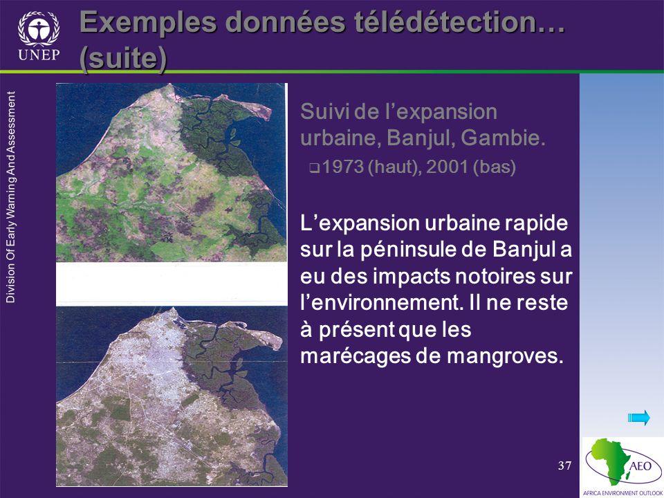 Division Of Early Warning And Assessment 37 Suivi de lexpansion urbaine, Banjul, Gambie. 1973 (haut), 2001 (bas) Lexpansion urbaine rapide sur la péni