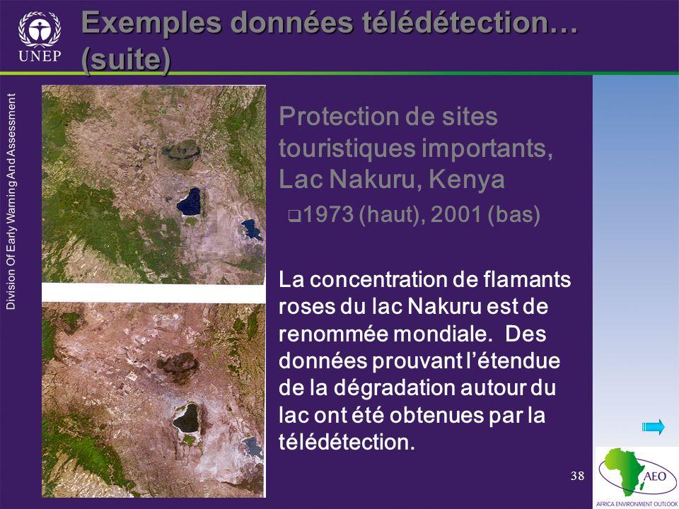 Division Of Early Warning And Assessment 38 Protection de sites touristiques importants, Lac Nakuru, Kenya 1973 (haut), 2001 (bas) La concentration de