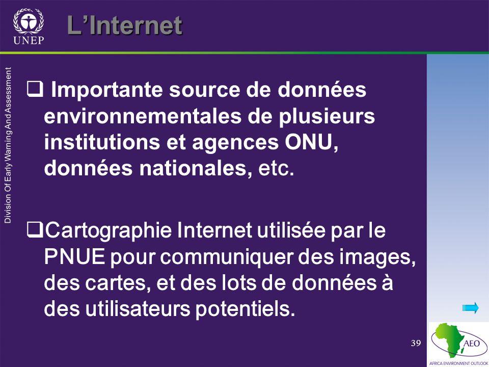 Division Of Early Warning And Assessment 39LInternet Importante source de données environnementales de plusieurs institutions et agences ONU, données