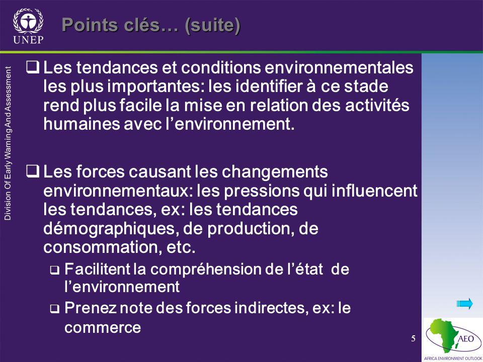 Division Of Early Warning And Assessment 5 Les tendances et conditions environnementales les plus importantes: les identifier à ce stade rend plus fac