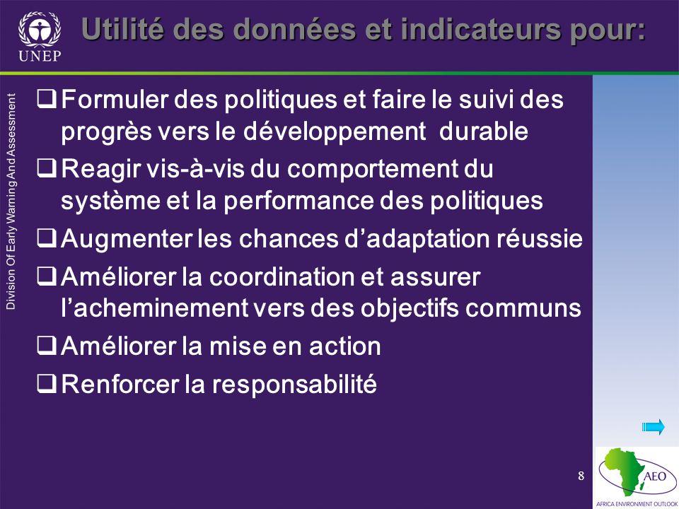 Division Of Early Warning And Assessment 8 Utilité des données et indicateurs pour: Formuler des politiques et faire le suivi des progrès vers le déve