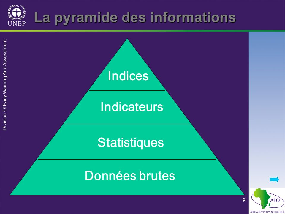 Division Of Early Warning And Assessment 9 La pyramide des informations Indices Indicateurs Statistiques Données brutes
