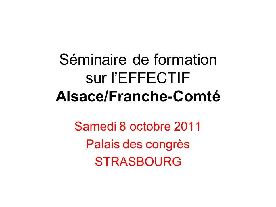 Séminaire de formation sur lEFFECTIF Alsace/Franche-Comté Samedi 8 octobre 2011 Palais des congrès STRASBOURG