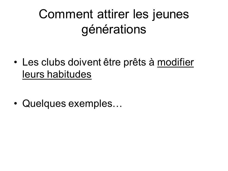 Comment attirer les jeunes générations Les clubs doivent être prêts à modifier leurs habitudes Quelques exemples…