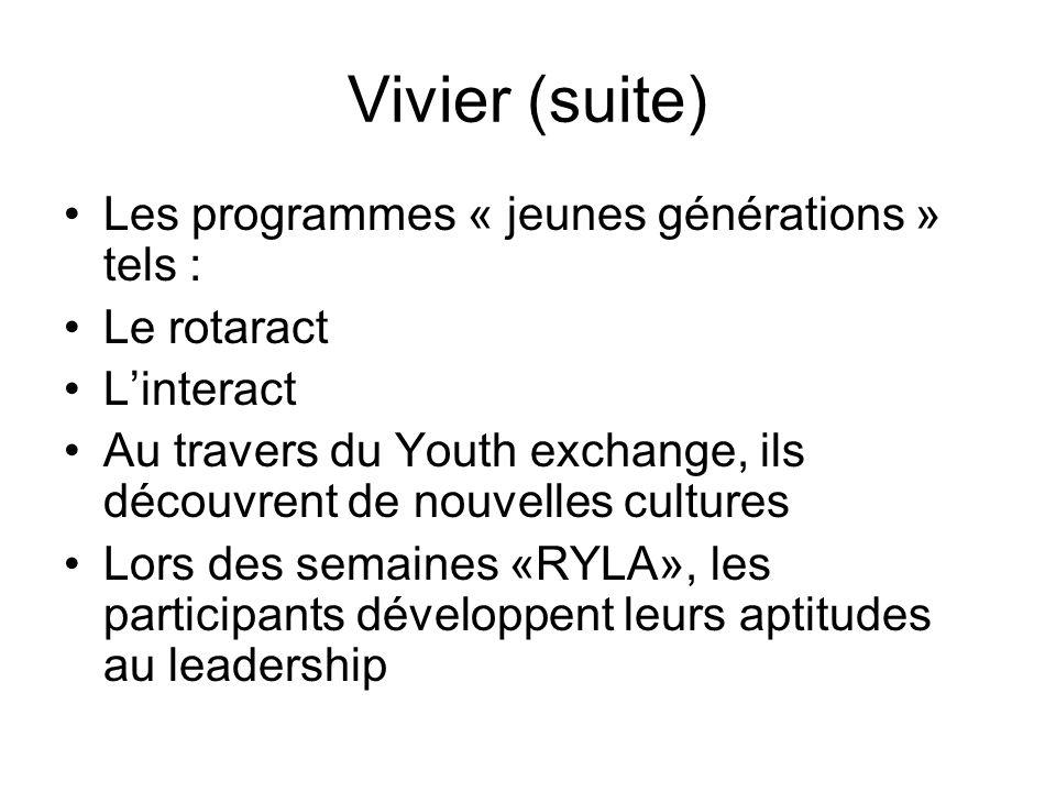 Vivier (suite) Les programmes « jeunes générations » tels : Le rotaract Linteract Au travers du Youth exchange, ils découvrent de nouvelles cultures Lors des semaines «RYLA», les participants développent leurs aptitudes au leadership