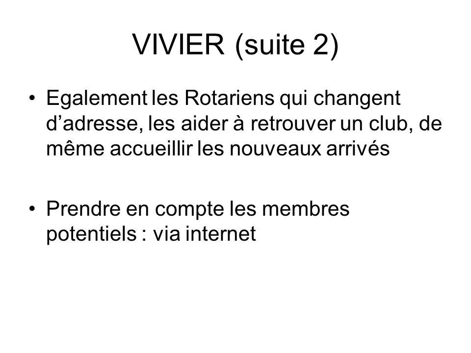 VIVIER (suite 2) Egalement les Rotariens qui changent dadresse, les aider à retrouver un club, de même accueillir les nouveaux arrivés Prendre en compte les membres potentiels : via internet