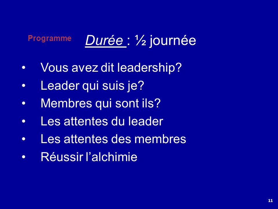 Programme 11 Vous avez dit leadership? Leader qui suis je? Membres qui sont ils? Les attentes du leader Les attentes des membres Réussir lalchimie Dur
