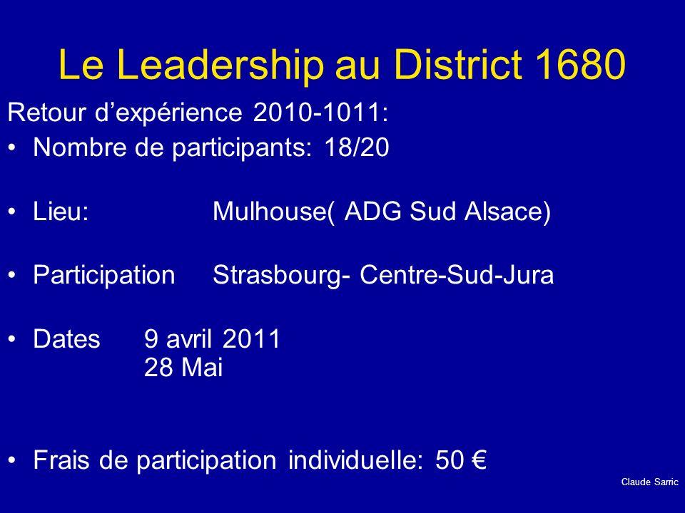 Le Leadership au District 1680 Retour dexpérience 2010-1011: Nombre de participants: 18/20 Lieu: Mulhouse( ADG Sud Alsace) ParticipationStrasbourg- Ce