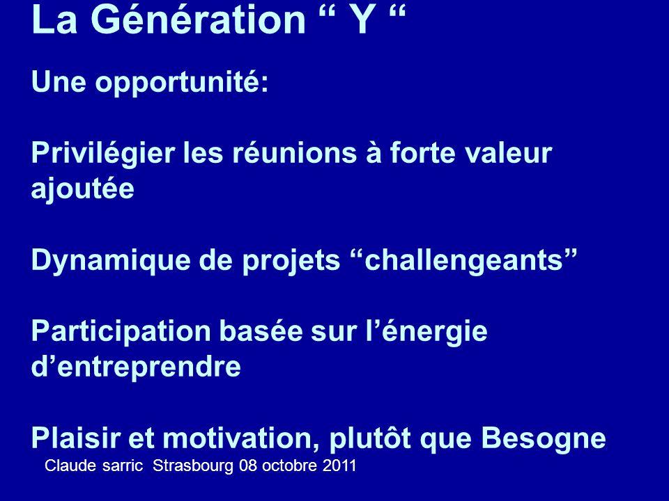 La Génération Y Une opportunité: Privilégier les réunions à forte valeur ajoutée Dynamique de projets challengeants Participation basée sur lénergie d