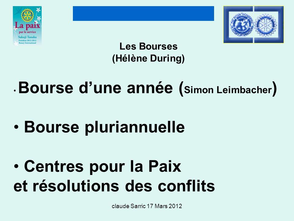 claude Sarric 17 Mars 2012 Les Bourses (Hélène During) Bourse dune année ( Simon Leimbacher ) Bourse pluriannuelle Centres pour la Paix et résolutions des conflits