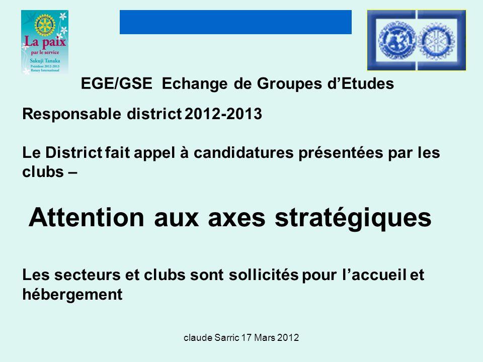 claude Sarric 17 Mars 2012 EGE/GSE Echange de Groupes dEtudes Responsable district 2012-2013 Le District fait appel à candidatures présentées par les clubs – Attention aux axes stratégiques Les secteurs et clubs sont sollicités pour laccueil et hébergement