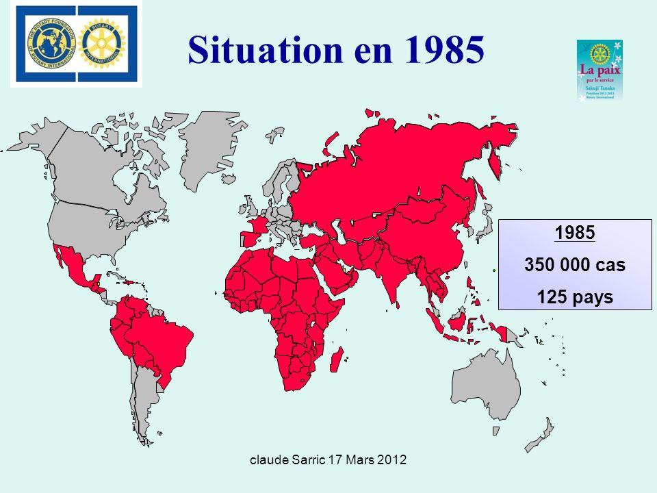 claude Sarric 17 Mars 2012 Situation en 1985 1985 350 000 cas 125 pays