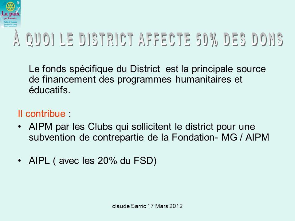 claude Sarric 17 Mars 2012 Le fonds spécifique du District est la principale source de financement des programmes humanitaires et éducatifs.
