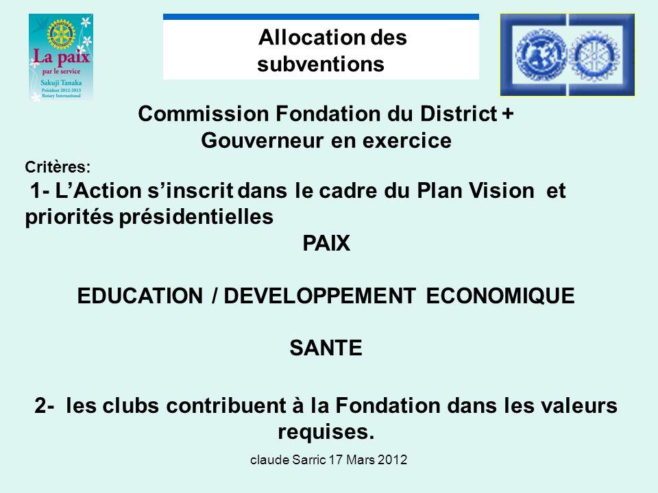 claude Sarric 17 Mars 2012 Commission Fondation du District + Gouverneur en exercice Critères: 1- LAction sinscrit dans le cadre du Plan Vision et priorités présidentielles PAIX EDUCATION / DEVELOPPEMENT ECONOMIQUE SANTE 2- les clubs contribuent à la Fondation dans les valeurs requises.