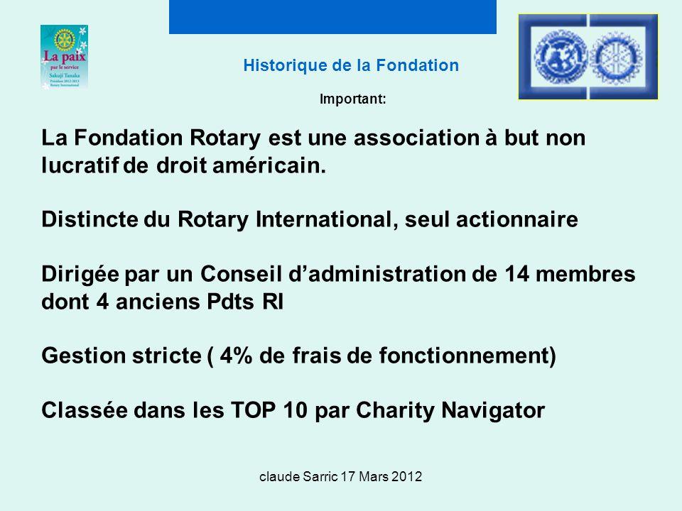 claude Sarric 17 Mars 2012 Historique de la Fondation Important: La Fondation Rotary est une association à but non lucratif de droit américain.
