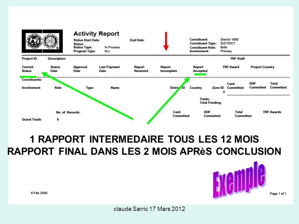 claude Sarric 17 Mars 2012 1 RAPPORT INTERMEDAIRE TOUS LES 12 MOIS RAPPORT FINAL DANS LES 2 MOIS APRèS CONCLUSION