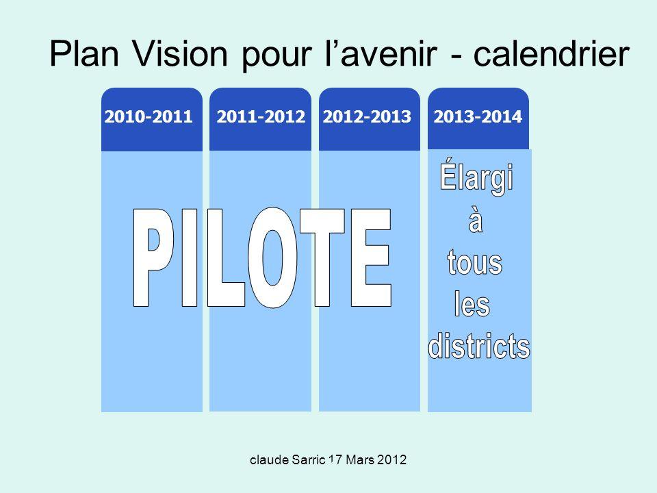 claude Sarric 17 Mars 2012 48 Plan Vision pour lavenir - calendrier 2012-13 2010-11 011-12 2011-20122012-20132010-20112013-2014