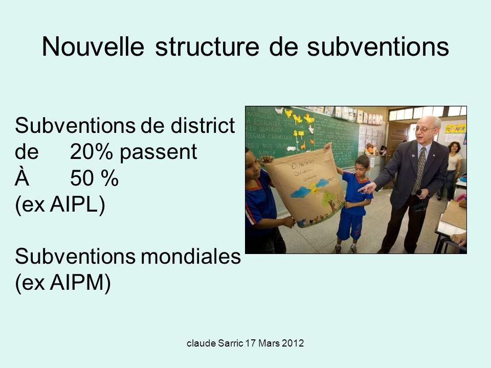 claude Sarric 17 Mars 2012 Subventions de district de 20% passent À 50 % (ex AIPL) Subventions mondiales (ex AIPM) Nouvelle structure de subventions