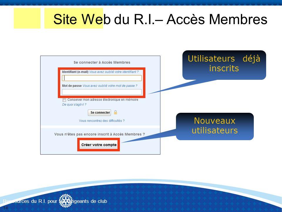 Nouveaux utilisateurs Utilisateurs déjà inscrits Site Web du R.I.– Accès Membres Ressources du R.I. pour les dirigeants de club 14