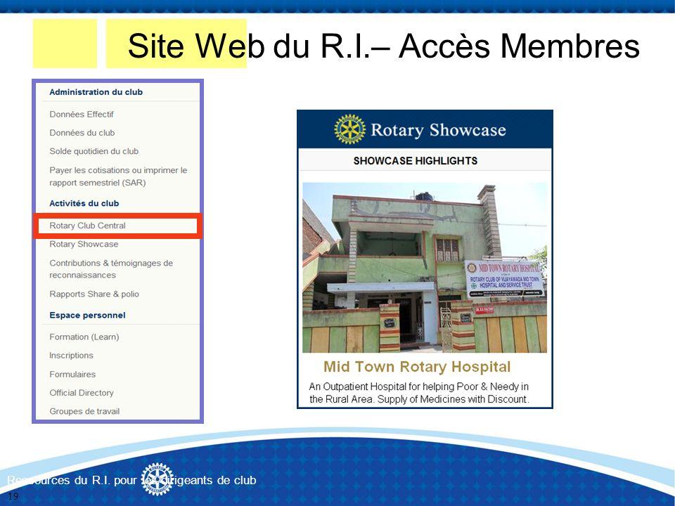 Ressources du R.I. pour les dirigeants de club Site Web du R.I.– Accès Membres 19