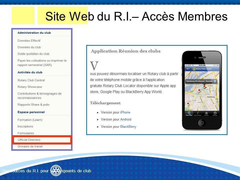 Ressources du R.I. pour les dirigeants de club Site Web du R.I.– Accès Membres 20