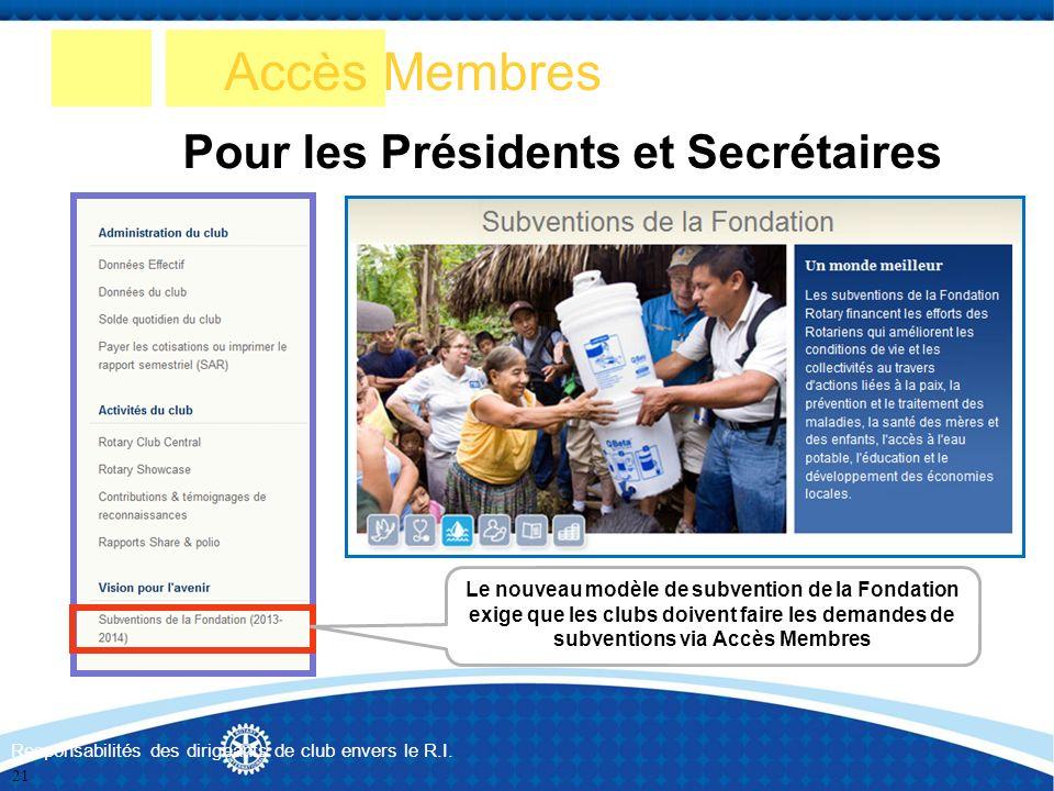 Accès Membres Pour les Présidents et Secrétaires Responsabilités des dirigeants de club envers le R.I. Le nouveau modèle de subvention de la Fondation