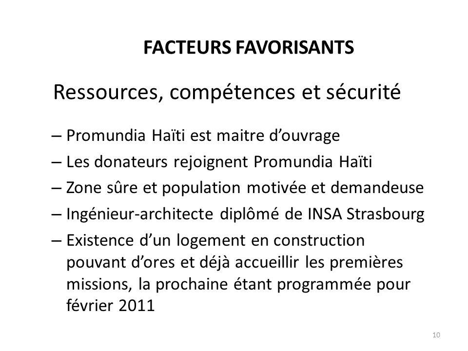 Ressources, compétences et sécurité – Promundia Haïti est maitre douvrage – Les donateurs rejoignent Promundia Haïti – Zone sûre et population motivée