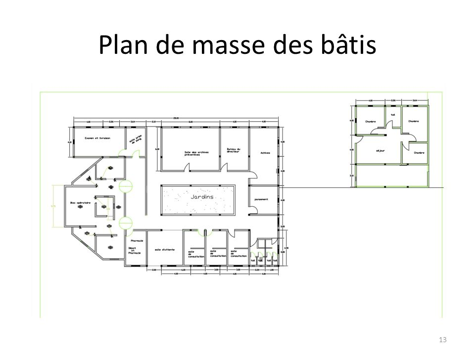 Plan de masse des bâtis 13
