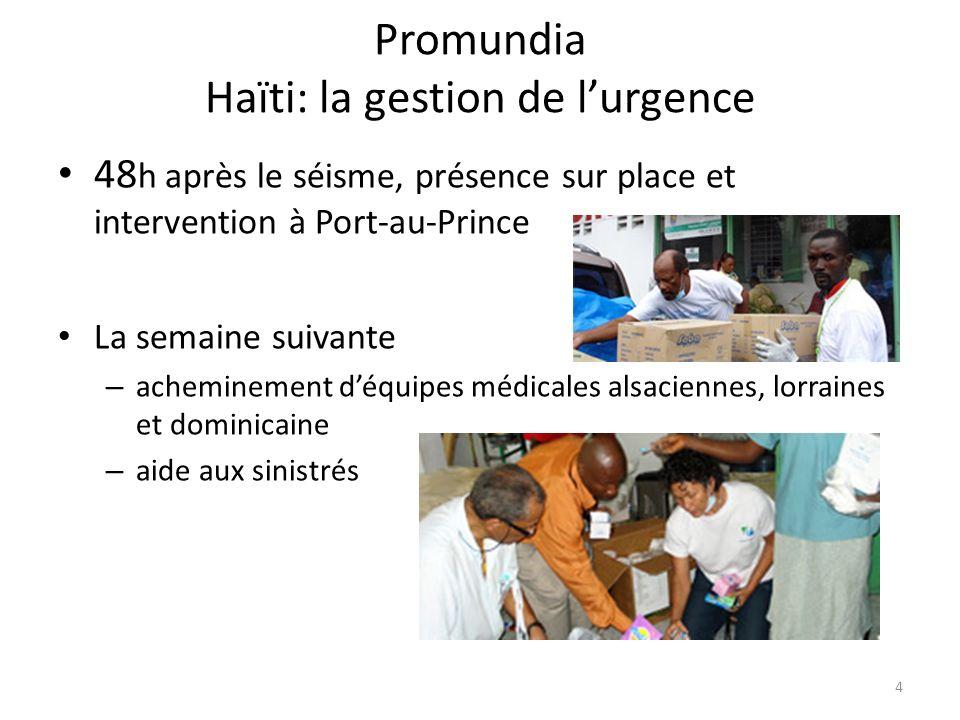 Promundia Haïti: la gestion de lurgence 48 h après le séisme, présence sur place et intervention à Port-au-Prince La semaine suivante – acheminement d