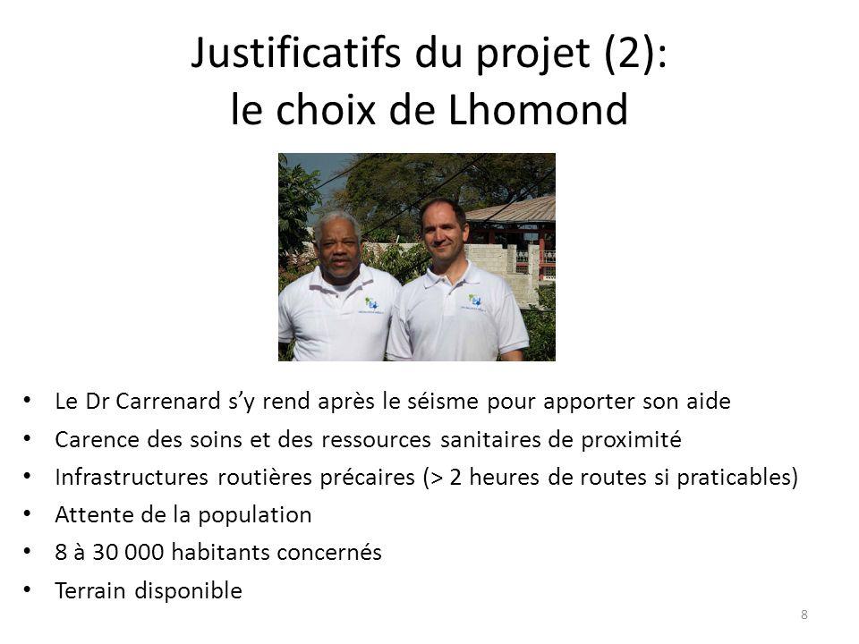 Justificatifs du projet (2): le choix de Lhomond Le Dr Carrenard sy rend après le séisme pour apporter son aide Carence des soins et des ressources sa