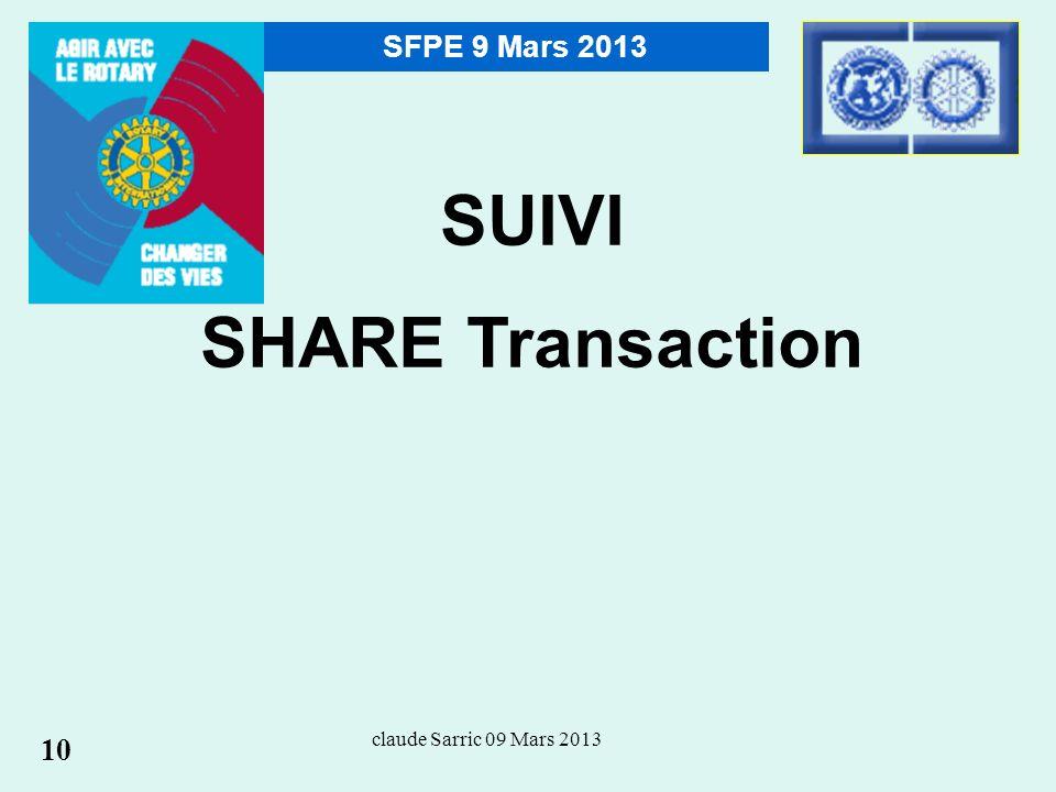 claude Sarric 09 Mars 2013 SFPE 9 Mars 2013 SUIVI SHARE Transaction 10
