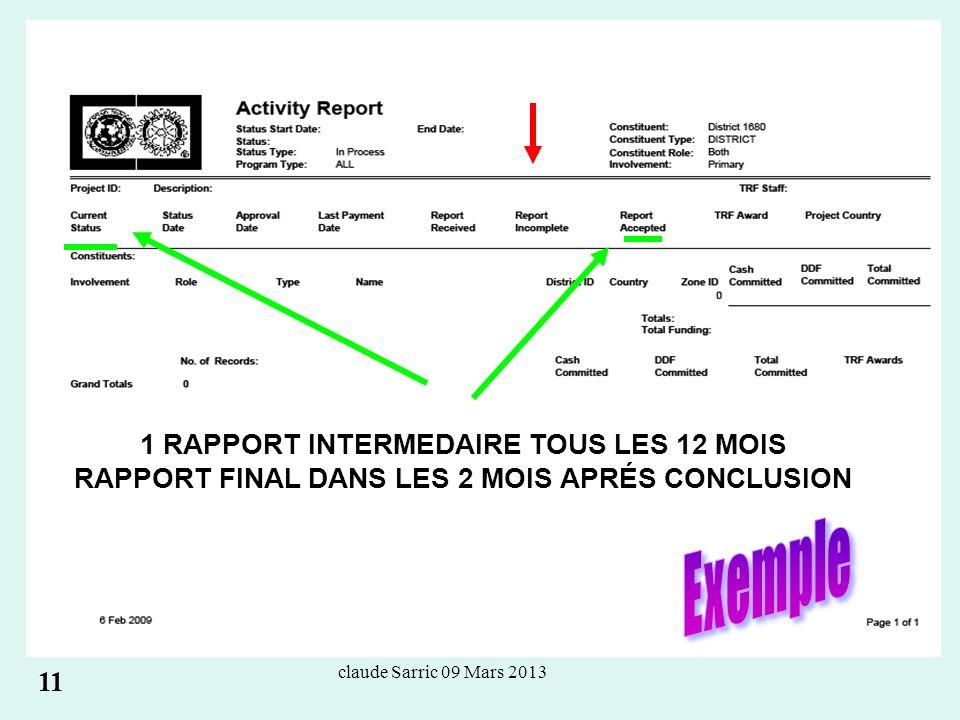 claude Sarric 09 Mars 2013 1 RAPPORT INTERMEDAIRE TOUS LES 12 MOIS RAPPORT FINAL DANS LES 2 MOIS APRÉS CONCLUSION 11