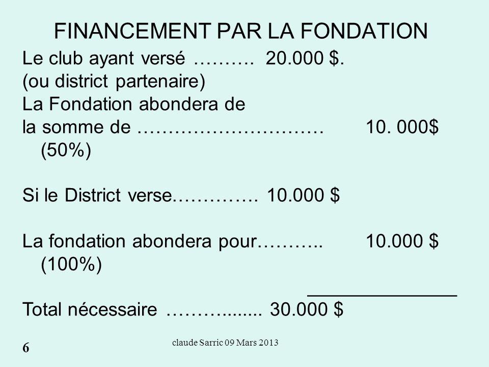 claude Sarric 09 Mars 2013 FINANCEMENT PAR LA FONDATION 1.Lire la documentation appropriée 2.Rotary.org 3.Acces membre 4.Subventions du RI 5.