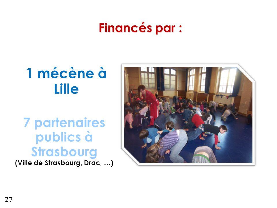Financés par : 1 mécène à Lille 7 partenaires publics à Strasbourg (Ville de Strasbourg, Drac, …) 27