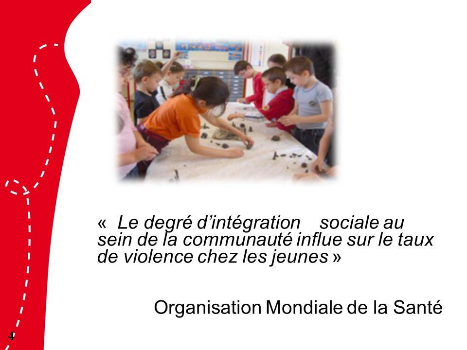« Le degré dintégration sociale au sein de la communauté influe sur le taux de violence chez les jeunes » Organisation Mondiale de la Santé 4