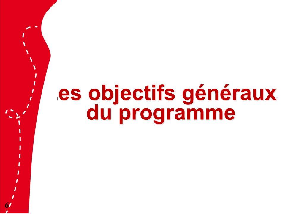 Les objectifs généraux du programme 6