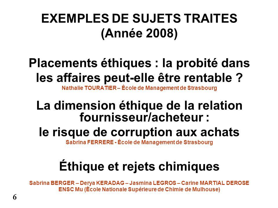 EXEMPLES DE SUJETS TRAITES (Année 2008) Placements éthiques : la probité dans les affaires peut-elle être rentable ? Nathalie TOURATIER – École de Man