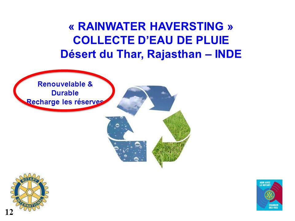 « RAINWATER HAVERSTING » COLLECTE DEAU DE PLUIE Désert du Thar, Rajasthan – INDE Renouvelable & Durable Recharge les réserves 12