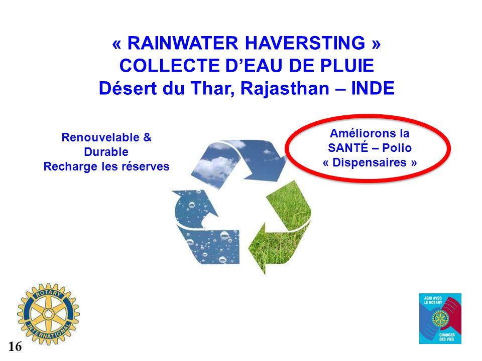 « RAINWATER HAVERSTING » COLLECTE DEAU DE PLUIE Désert du Thar, Rajasthan – INDE Renouvelable & Durable Recharge les réserves Améliorons la SANTÉ – Po