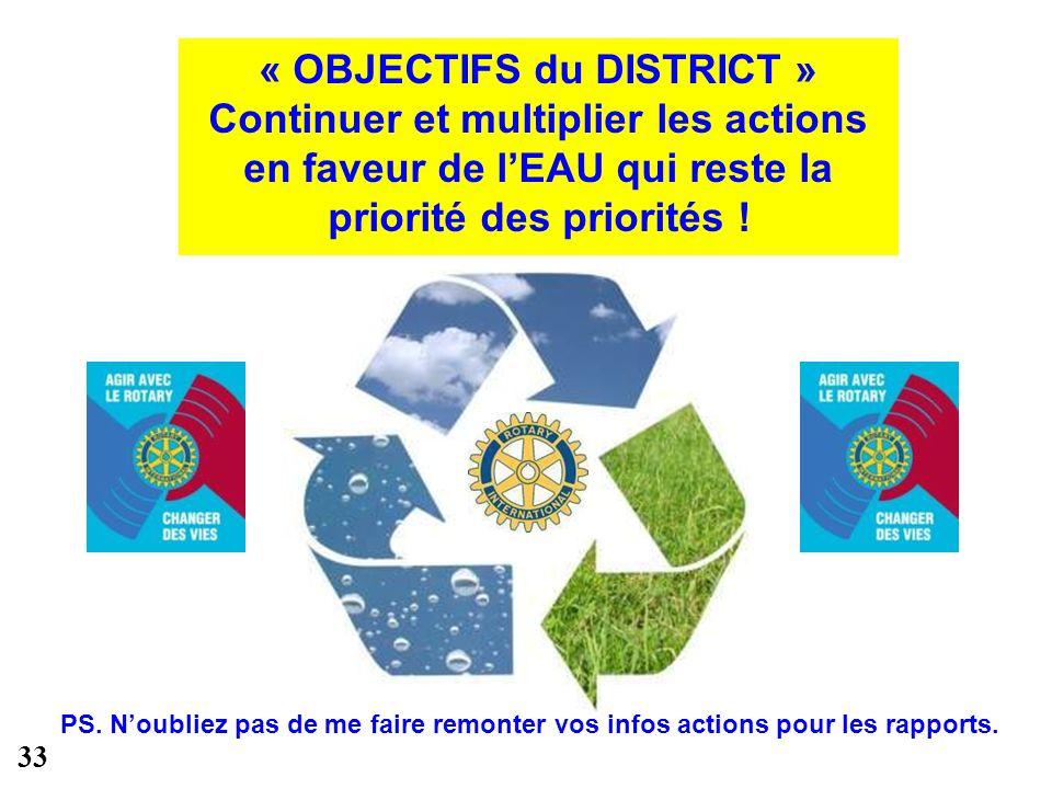 « OBJECTIFS du DISTRICT » Continuer et multiplier les actions en faveur de lEAU qui reste la priorité des priorités .