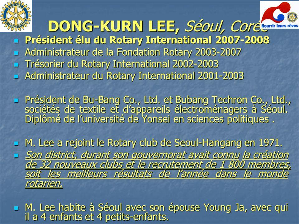 DONG-KURN LEE, Séoul, Corée Président élu du Rotary International 2007-2008 Président élu du Rotary International 2007-2008 Administrateur de la Fonda