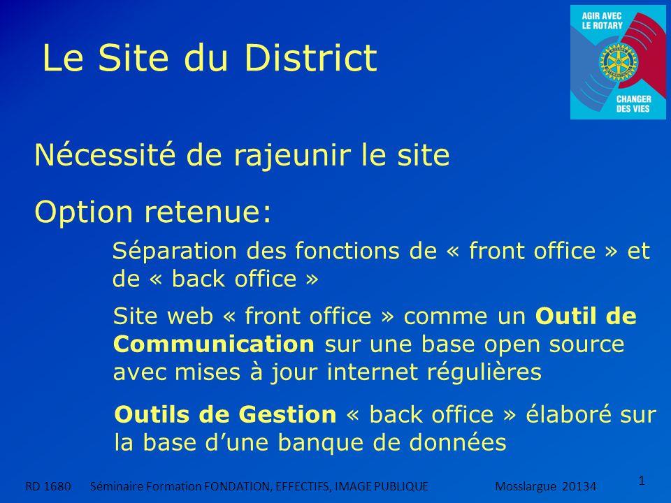 Le Site du District RD 1680 Séminaire Formation FONDATION, EFFECTIFS, IMAGE PUBLIQUEMosslargue 20134 1 Nécessité de rajeunir le site Option retenue: S