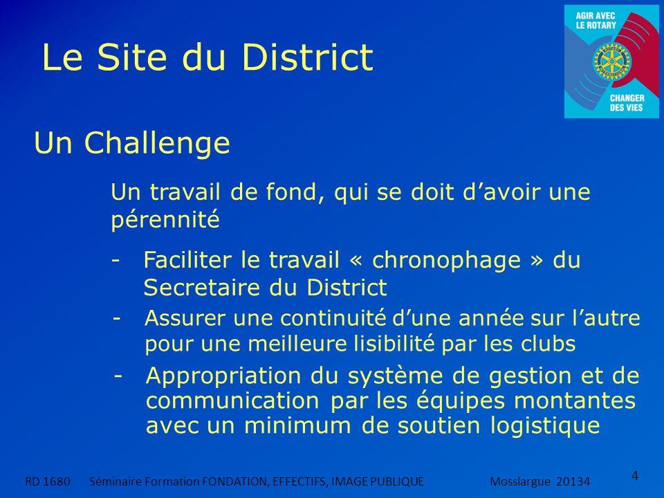 Le Site du District 4 RD 1680 Séminaire Formation FONDATION, EFFECTIFS, IMAGE PUBLIQUEMosslargue 20134 Un Challenge Un travail de fond, qui se doit da