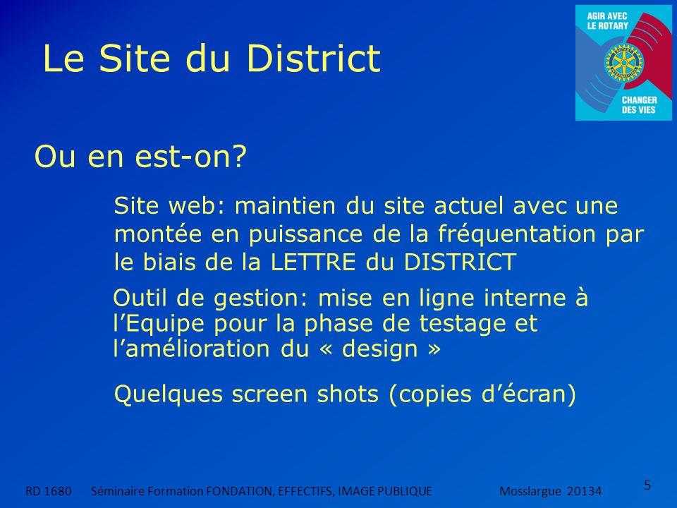 Le Site du District 5 Ou en est-on? RD 1680 Séminaire Formation FONDATION, EFFECTIFS, IMAGE PUBLIQUEMosslargue 20134 Outil de gestion: mise en ligne i