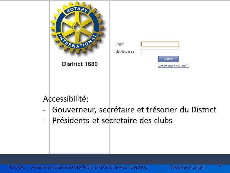 6 RD 1680 Séminaire Formation FONDATION, EFFECTIFS, IMAGE PUBLIQUEMosslargue 20134 Accessibilité: -Gouverneur, secrétaire et trésorier du District -Pr
