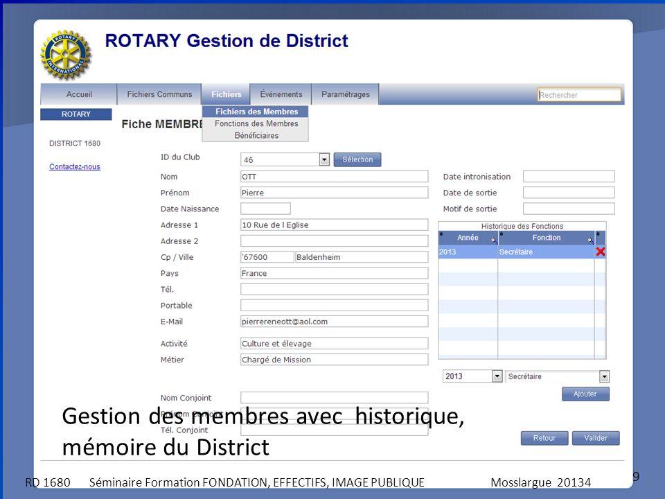 9 RD 1680 Séminaire Formation FONDATION, EFFECTIFS, IMAGE PUBLIQUEMosslargue 20134 Gestion des membres avec historique, mémoire du District