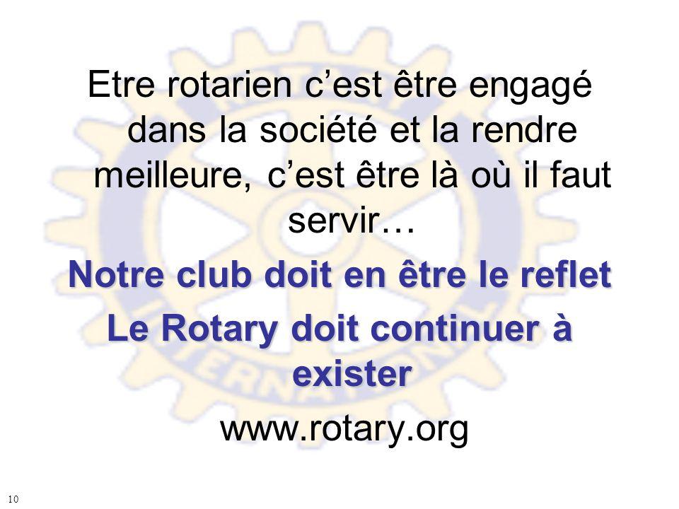 Etre rotarien cest être engagé dans la société et la rendre meilleure, cest être là où il faut servir… Notre club doit en être le reflet Le Rotary doi