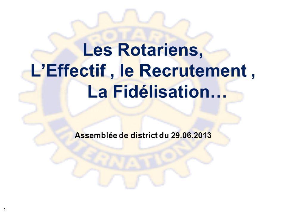 Les Rotariens, LEffectif, le Recrutement, La Fidélisation… Assemblée de district du 29.06.2013 2