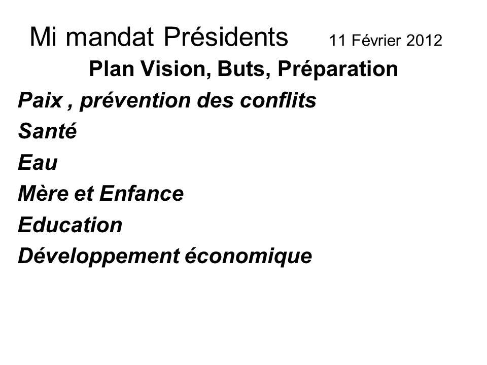 Mi mandat Présidents 11 Février 2012 Plan Vision, Buts, Préparation Paix, prévention des conflits Santé Eau Mère et Enfance Education Développement économique